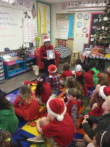 second grade enjoyed a visit from mrs bell who read how to catch santa and shared some christmas treats mrs bells son is head of school brent bell